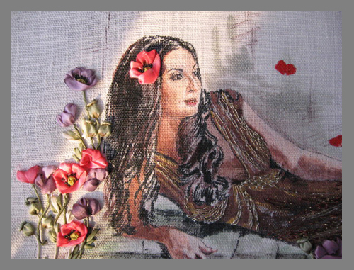 Портреты в вышивке лентами